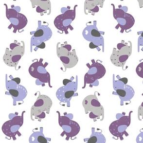 Sleepy Elephants Lavender Rotated