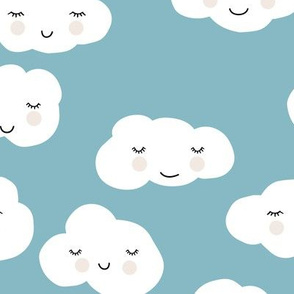Sweet puffy clouds kawaii sky smiling sleepy cloud in cool soft blue winter