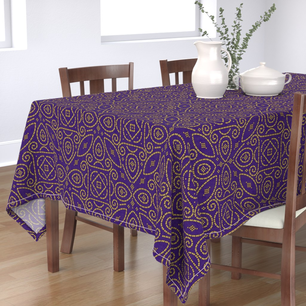 Bantam Rectangular Tablecloth featuring Purple and Gold Bandhani Bandhej by earthatelierdesigns