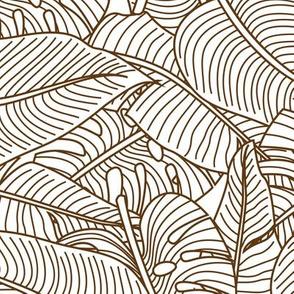 Tropical Leaves Banana Monstera Brown and White