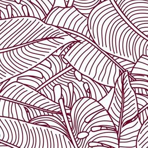 Tropical Leaves Banana Monstera Garnet and White