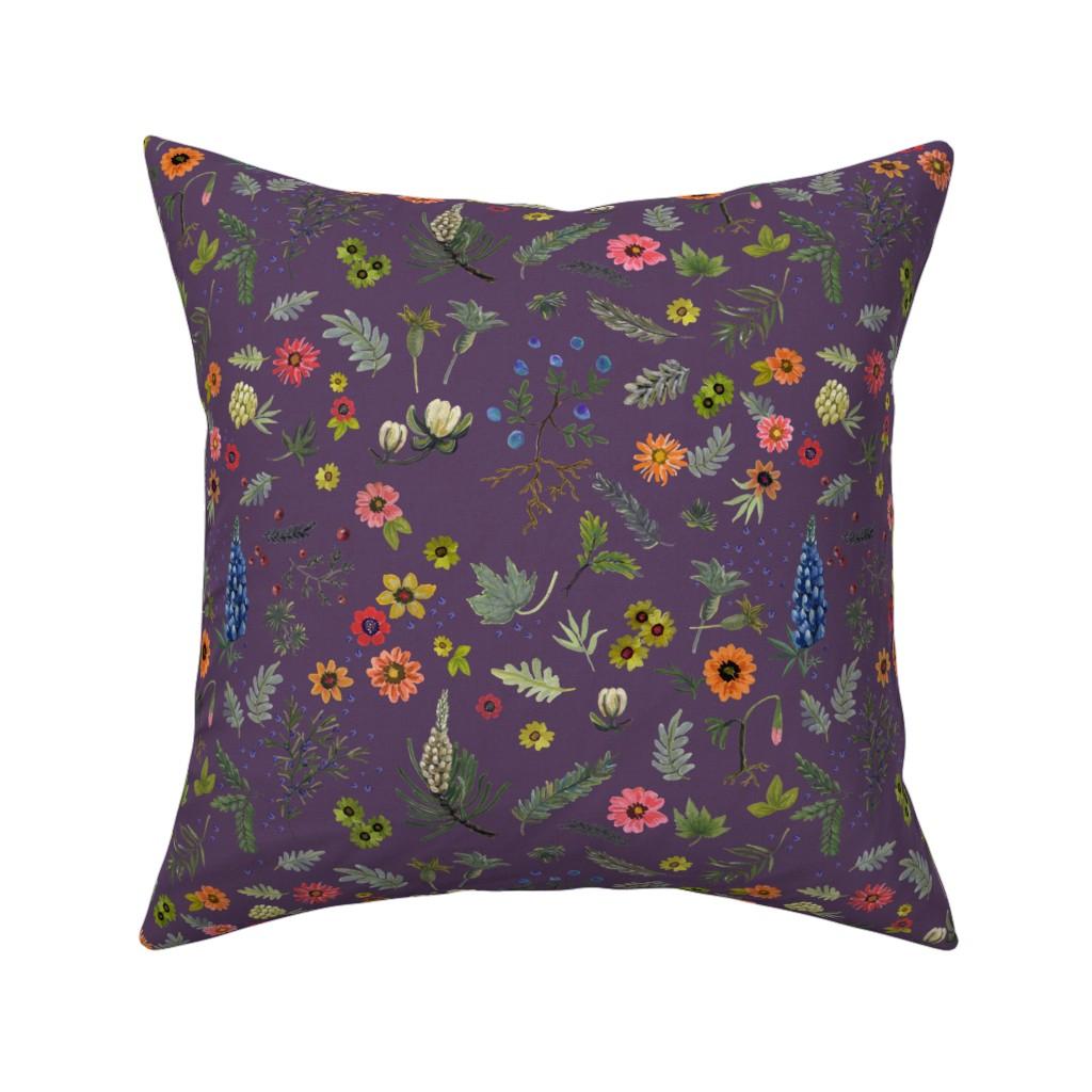 Catalan Throw Pillow featuring boho botanical - lavender by cinneworthington