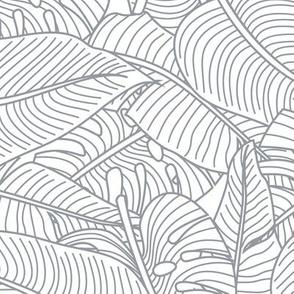 Tropical Leaves Banana Monstera Grey and White