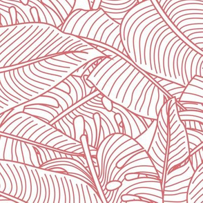 Tropical Leaves Banana Monstera Red and White