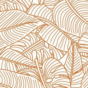 Tropical Leaves Banana Monstera Orange and White