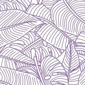Tropical Leaves Banana Monstera Purple  and White