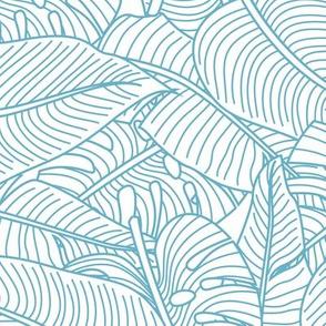 Tropical Leaves Banana Monstera Teal and White