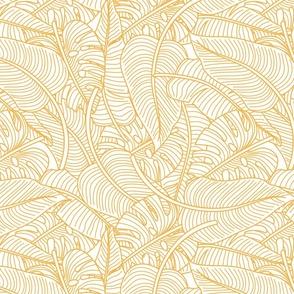 Tropical Leaves Banana Monstera Yellow and White