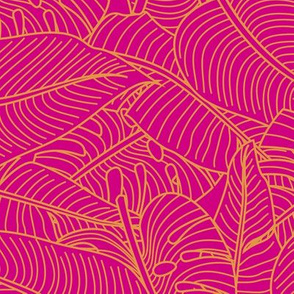 Tropical Leaves Banana Monstera Pink and Orange