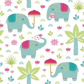 little elephants - white background