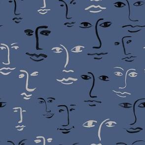 mixed faces - storm blue