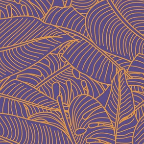 Tropical Leaves Banana Monstera Orange and Purple