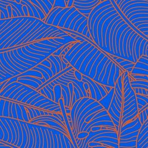Tropical Leaves Banana Monstera Orange and Blue