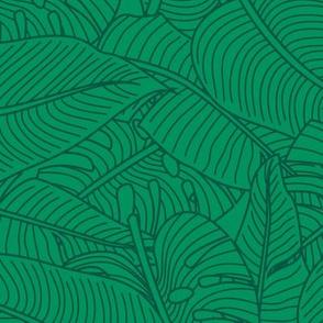 Tropical Leaves Banana Monstera Green and Dark Green