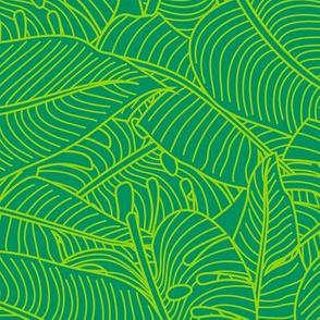 Tropical Leaves Banana Monstera Green and Lime Green