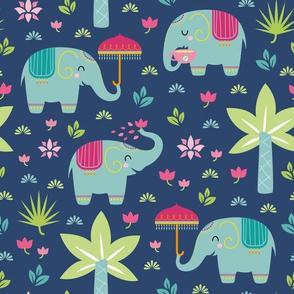 little elephants - blue green background