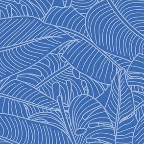 Tropical Leaves Banana Monstera Blue and White
