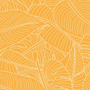 Tropical Leaves Banana Monstera Yellow Gold and White