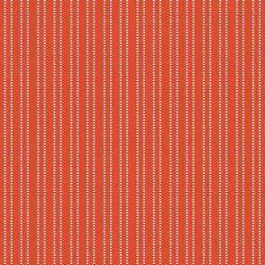 Red and white mini dash stripe