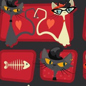 Rockabilly Cats [offset] - Scarlet