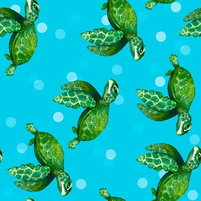 Bright Sea Turtles on Bright Ocean Blue with Bubbles - Rotated