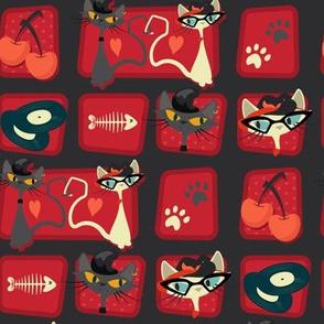 Small Rockabilly Cats [offset] - Scarlet
