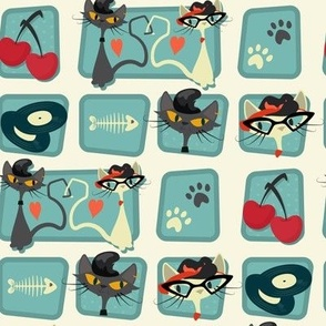 Small Rockabilly Cats [offset] - Turquoise