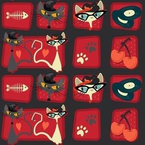 Small Rockabilly Cats - Scarlet