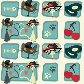 Small Rockabilly Cats - Turquoise