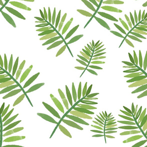 Tropical leaves - white