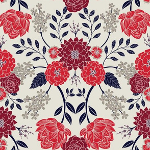Sophisticated Red, Navy Blue & Gray Floral Pattern (Medium Scale)