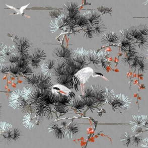Chinoiserie Cranes~ Black and White and Fancy