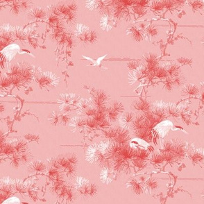 Chinoiserie Cranes ~ Blush