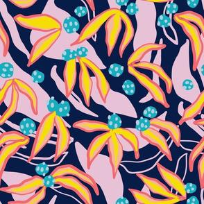 Berry Flower - Navy
