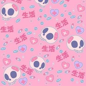 Life and Skulls on Pink