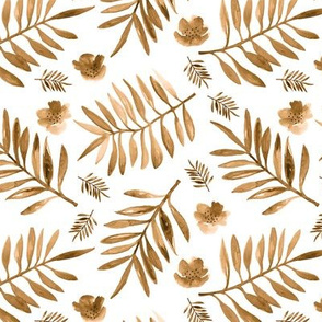 Bohemian garden watercolors indian summer palm leaves and flower blossom honey copper brown neutral nursery