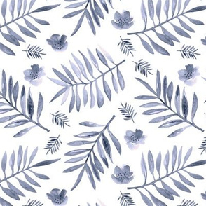 Bohemian garden watercolors indian summer palm leaves and flower blossom cool winter blue neutral nursery