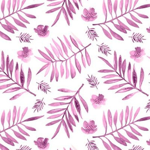 Bohemian garden watercolors indian summer palm leaves and flower blossom pink fall girls nursery