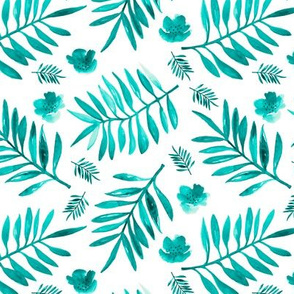 Bohemian garden watercolors indian summer palm leaves and flower blossom cool aqua blue boys