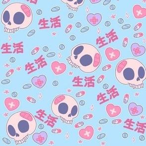 Life and Skulls Menhera on Blue