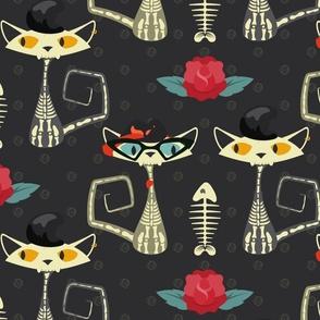 Rockabilly Cats- Skeletons - Black