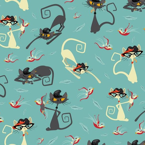 Rockabilly Cats and Birds