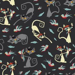 Rockabilly Cats and Birds