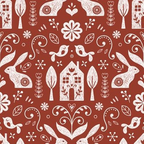 Scandinavian folk - brick red