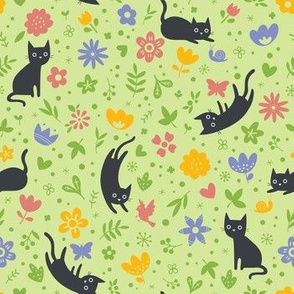 Cats frolicking in the garden - spring - small scale