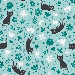 Cats frolicking in the garden - turquoise - small scale