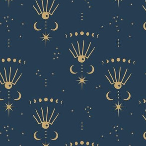 Mystic Universe third eye dreams moon phase and stars sweet dreams night navy blue gold