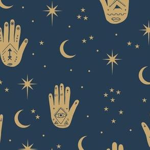 Mystic Universe prayer hamsa moon phase and stars sweet dreams night navy blue gold