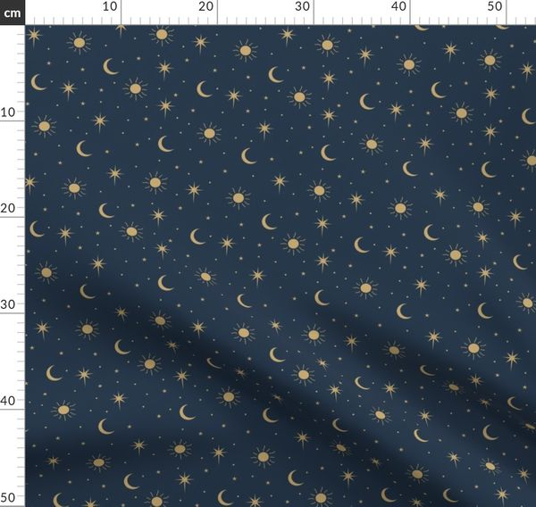 Sun Moon Stars Vintage Soft Navy Sweater by Paulina
