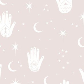 Mystic Universe prayer hamsa moon phase and stars sweet dreams night soft neutral nursery sand beige